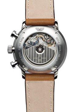 iron annie automatisch horloge »bauhaus, chronometer sternwarte glashuette, 5020-4« bruin