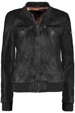 dnr jackets leren jack voor dames met gebreide boorden en ritssluiting zwart