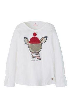 tom tailor shirt met lange mouwen »langarmshirt mit pailletten-motiv« wit