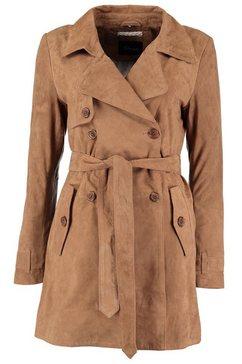 dnr jackets lange leren jas voor dames met reverskraag en zakken bruin