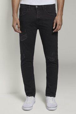 tom tailor denim tapered jeans »tapered conroy stretch jeans mit destroys« zwart