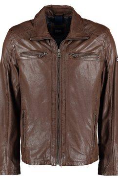 dnr jackets leren herenjack met zakken en ritssluiting bruin