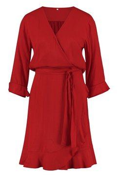 loomlace jurk met bindceintuur »desi« rood