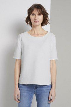 tom tailor sweatshirt »strukturiertes kurzarm-sweatshirt« wit
