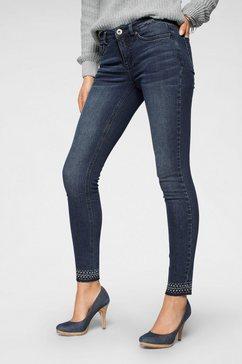 arizona skinny jeans »mit schmucksteinen am saum« blauw