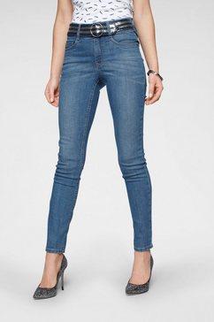 arizona skinny jeans »mit fixiertem glitzer-guertel« blauw