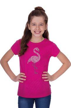 trigema t-shirt met glittermotief op de voorkant rood