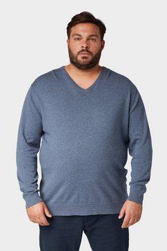 tom tailor trui met v-hals »basic pullover mit v-ausschnitt« blauw