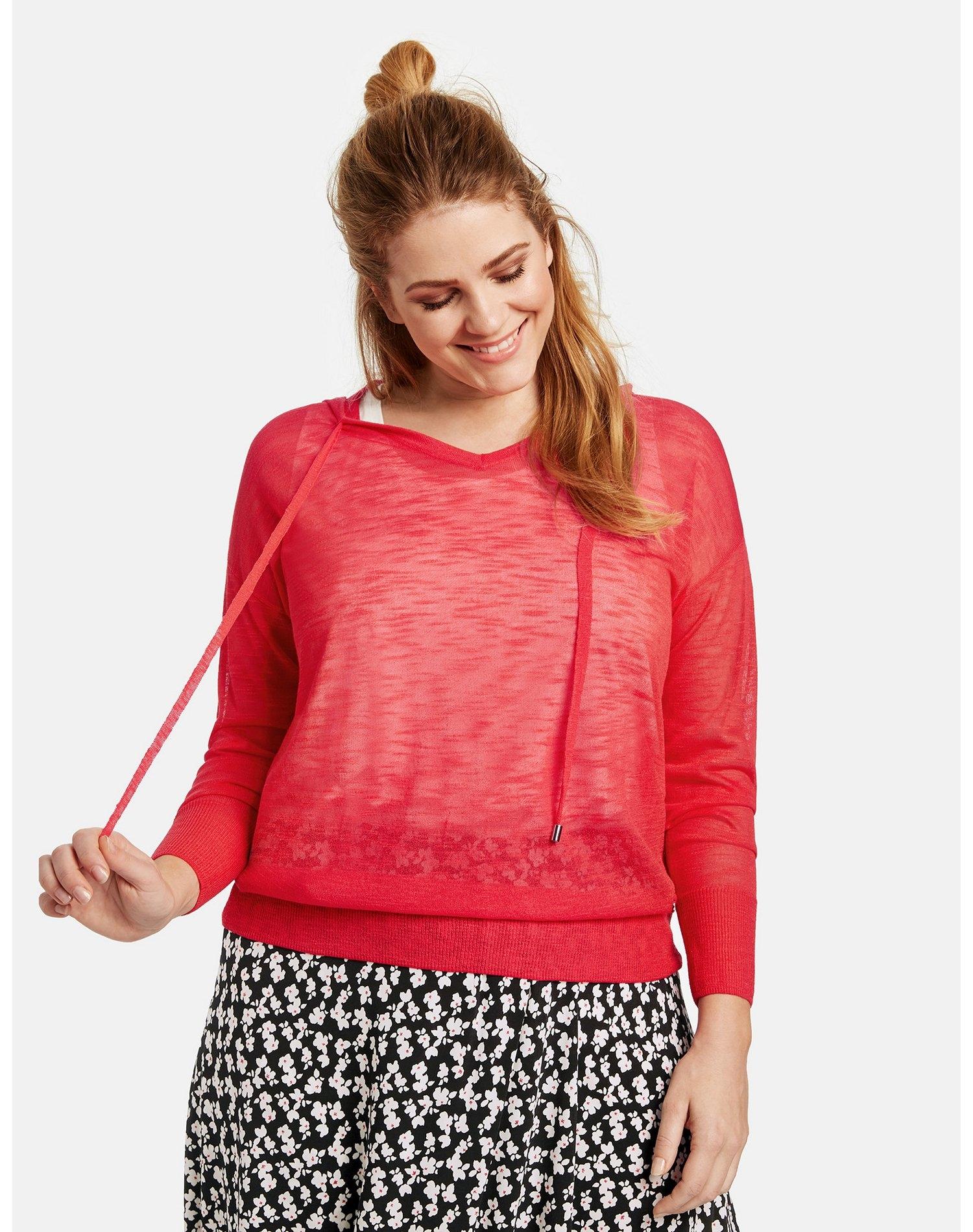 Samoon trui met ronde hals en lange mouwen »Pullover mit Kapuze« nu online kopen bij OTTO
