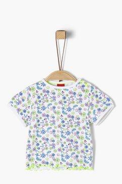 s.oliver junior jersey shirt met rucheachtig detail voor baby wit