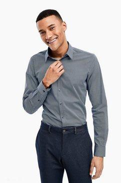 s.oliver black label slim: stretchoverhemd met fijn motief blauw