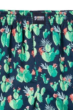 happy shorts geweven boxershort »kaktus« blauw