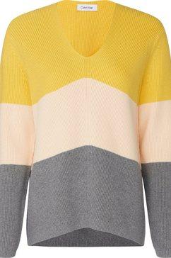 calvin klein trui met v-hals »ls color block sweater« wit