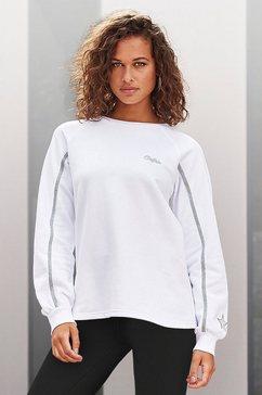 buffalo sweatshirt met lurex-strepen en satijnen ster op de mouw wit