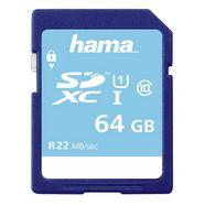 hama geheugenkaart sdxc 64 gb class 10 uhs-i 22mb-s »geschikt voor hd-video-opnamen« blauw