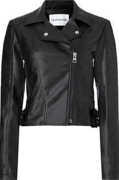 calvin klein bikerjack »faux leather biker jacket« zwart