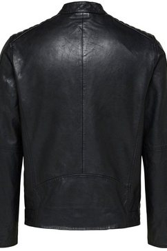 selected homme leren jack »racer leather jkt« zwart
