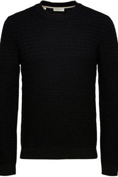 selected homme trui met ronde hals »cornnrad structure crew neck« zwart