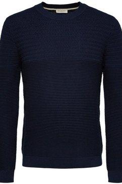 selected homme trui met ronde hals »cornnrad structure crew neck« blauw
