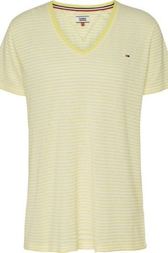 tommy jeans shirt met v-hals »tjw texture feel v-neck tee« geel