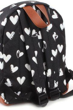 kidzroom kinderrugzak »black  white, hearts« zwart