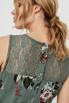 vero moda chiffonjurk »vmlovely« (met riem in leer-look) groen