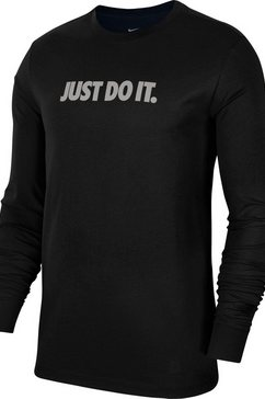nike shirt met lange mouwen »longsleeve tee just do it cut out« zwart