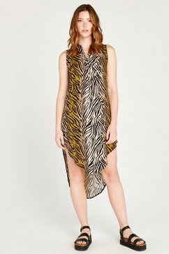 apricot gedessineerde jurk »zebra open neck viscose dress« geel