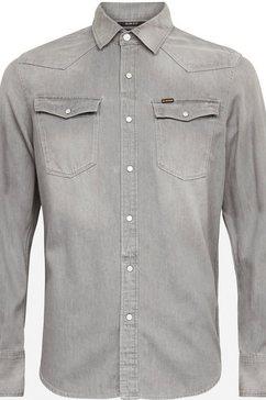 g-star raw jeansoverhemd »3301 slim shirt« grijs