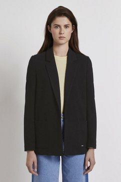 tom tailor denim jasje »gerade geschnittener blazer aus piqué« zwart