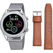 lotus smartwatch smartime, 50006-1 (3-delig, met wisselband van echt leer en oplaadkabel) zilver