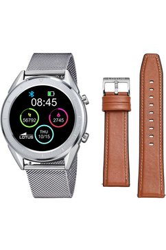 lotus smartwatch »smartime, 50006-1« (met wisselband van echt leer en oplaadkabel) zilver