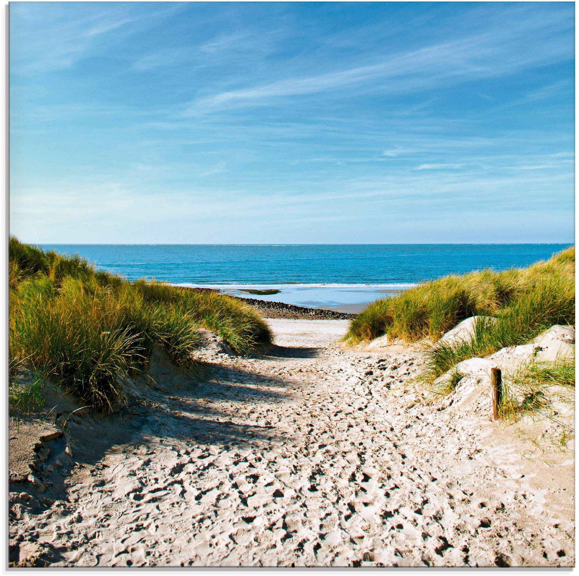 Artland print op glas Strand met duinen en weg naar het water (1 stuk) - gratis ruilen op otto.nl