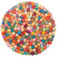 theko wollen kleed ballo vloerkleed met vilten bollen, zuivere wol, met de hand gemaakt, woonkamer multicolor