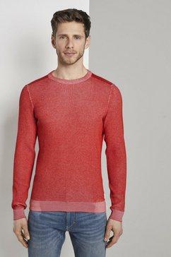 tom tailor gebreide trui »strickpullover im strukturmix« rood