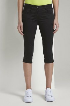 tom tailor capribroek »alexa slim capri-hose aus satin-stretch« zwart