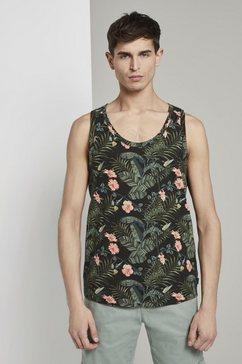 tom tailor denim functioneel shirt »tanktop mit tropischem print« zwart