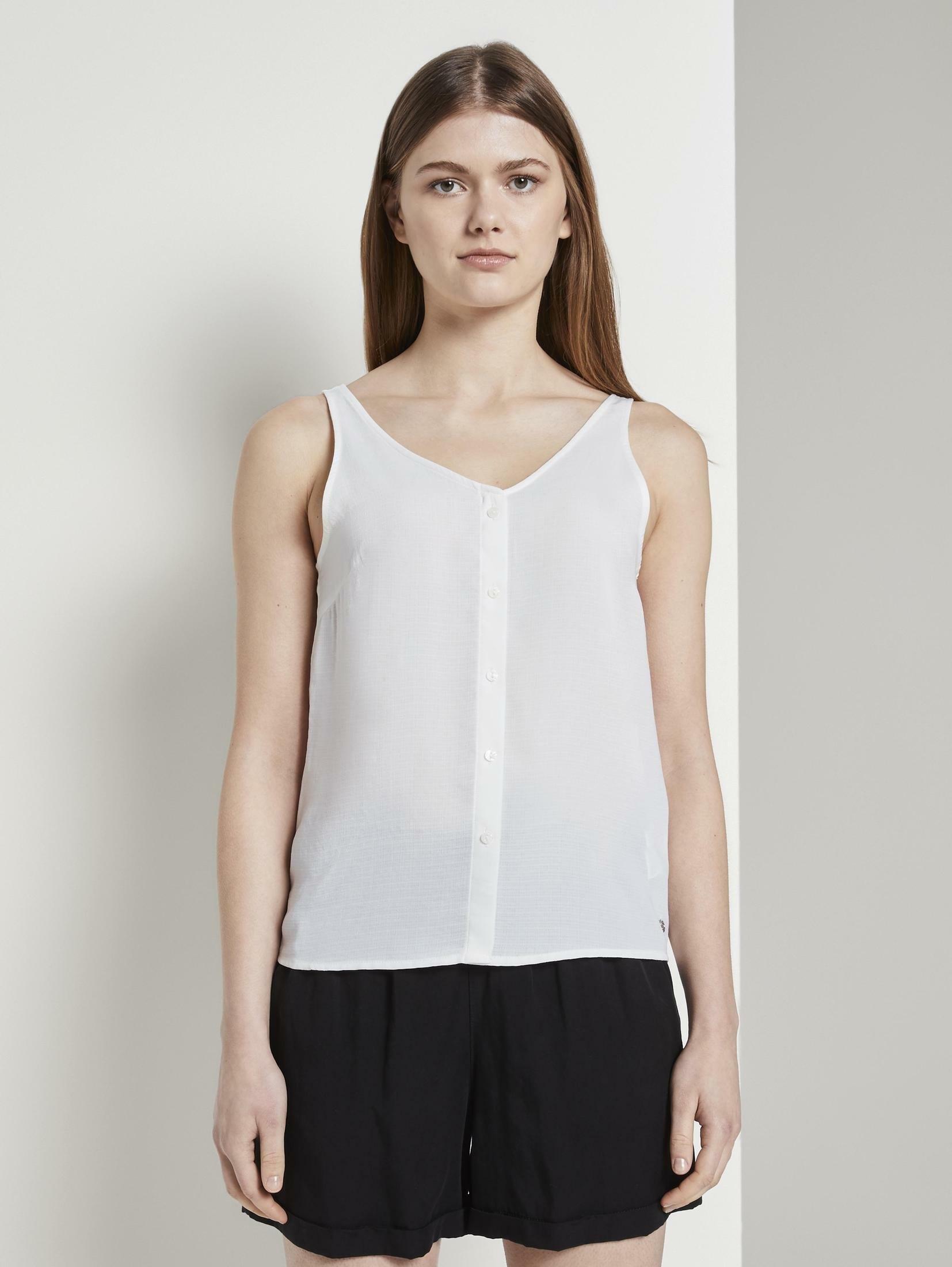 TOM TAILOR Denim blouse met korte mouwen »Ärmellose Bluse mit Knopfleiste« in de webshop van OTTO kopen