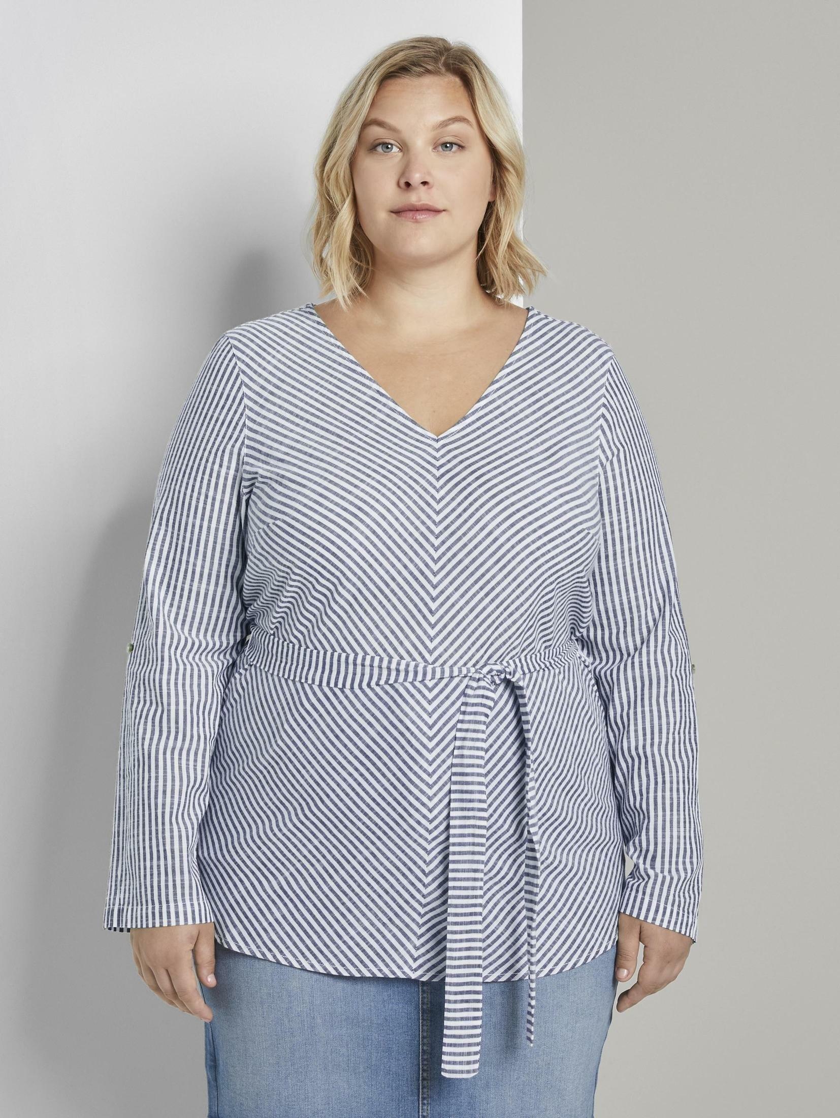 Op zoek naar een Tom Tailor My True Me wikkelblouse »Gestreifte Bluse mit Gürtel«? Koop online bij OTTO