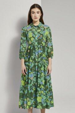 tom tailor denim babydolljurk »midi babydoll-kleid mit floralem print« groen