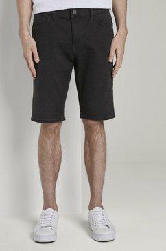 tom tailor jeansshort »josh regular slim jeans-shorts mit superstretch« zwart
