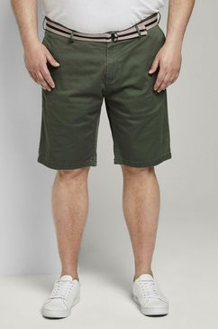 tom tailor men plus bermuda »gemusterte bermuda-shorts mit guertel« groen