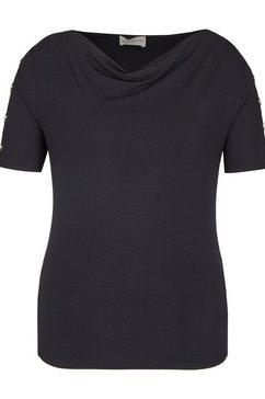 via appia modern shirt met cascadehals zwart