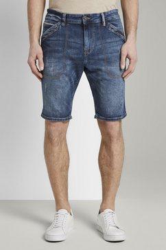 tom tailor slim fit jeans »josh regular slim jeans-bermuda-shorts« blauw