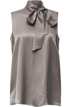 esprit collection blouse met kraagstrik grijs