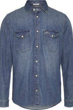 tommy jeans jeansoverhemd »tjm western denim shirt« blauw