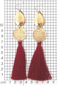 j jayz oorhangers »rote lange quasten, vergoldet« rood