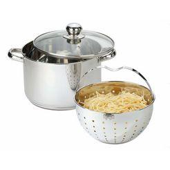 beyond pannenset voor het koken, braden, smoren, bakken, stoven, stomen, blancheren, inclusief zeefinzet, inductie (set, 3-delig) zilver