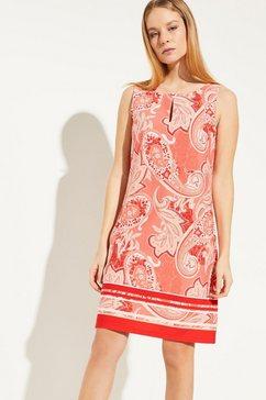 comma crêpe jurk met een golvend randje langs de halsopening rood