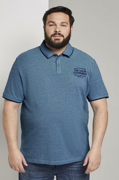 tom tailor men plus poloshirt »zweifarbiges poloshirt mit logo-stickerei« blauw